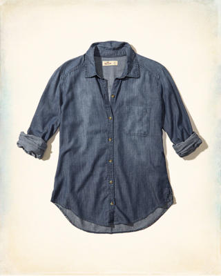 Printed Back Chambray Shirt