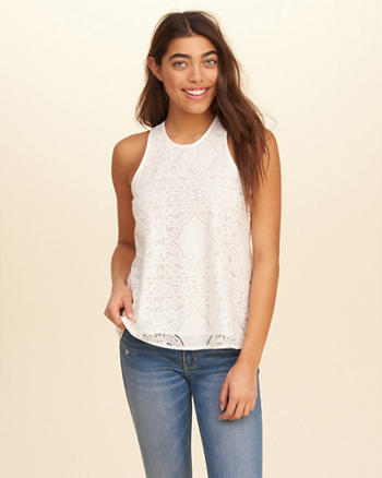 Strappy Lace High-Neck Tank