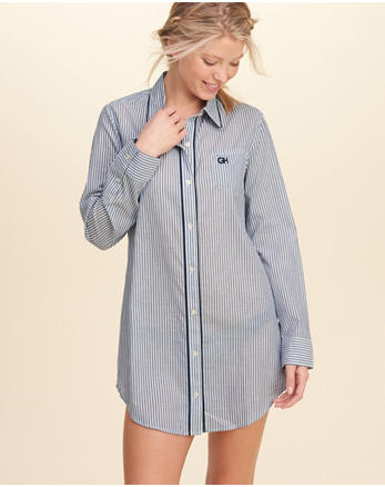 hol Button-Front Woven Sleep Dress