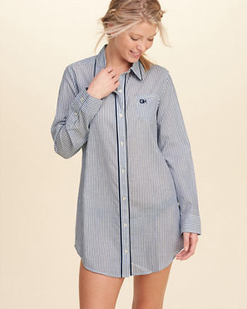 Button-Front Woven Sleep Dress