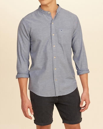 Stretch Banded Collar Oxford Shirt