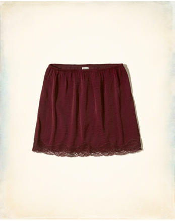 hol Lace-Trim Woven Slip Skirt