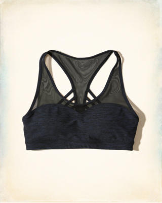 Strappy Mesh Racerback Sports Bra