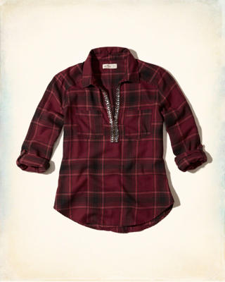 Embellished Plaid Popover Shirt
