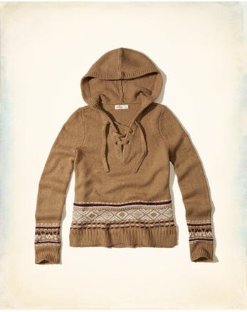 hol Lace-Up Hooded Sweater