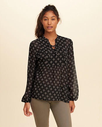 Patterned Lace-Up Shirt