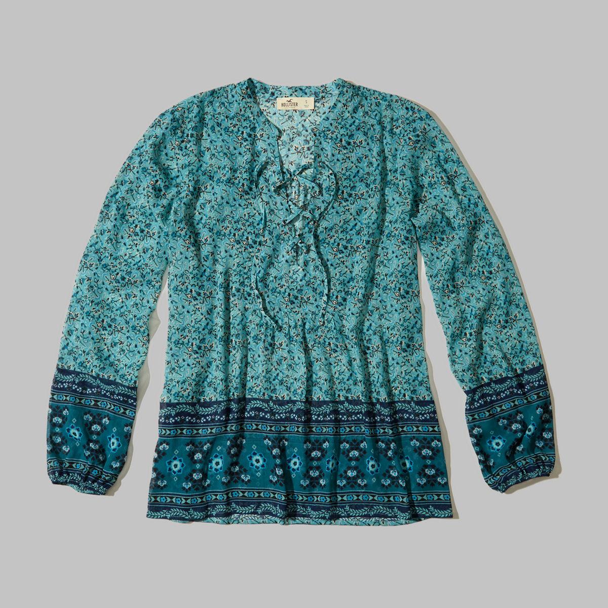 Lace-Up Chiffon Shirt