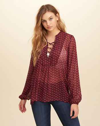 Lace-Up Chiffon Shirt