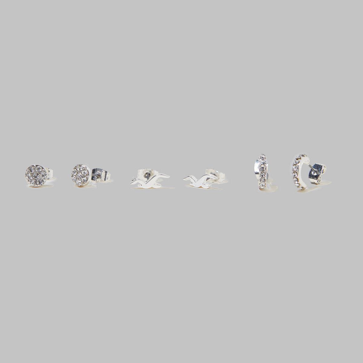 Silver Stud Earring Set