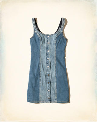 Button-Front Denim Bodycon Dress
