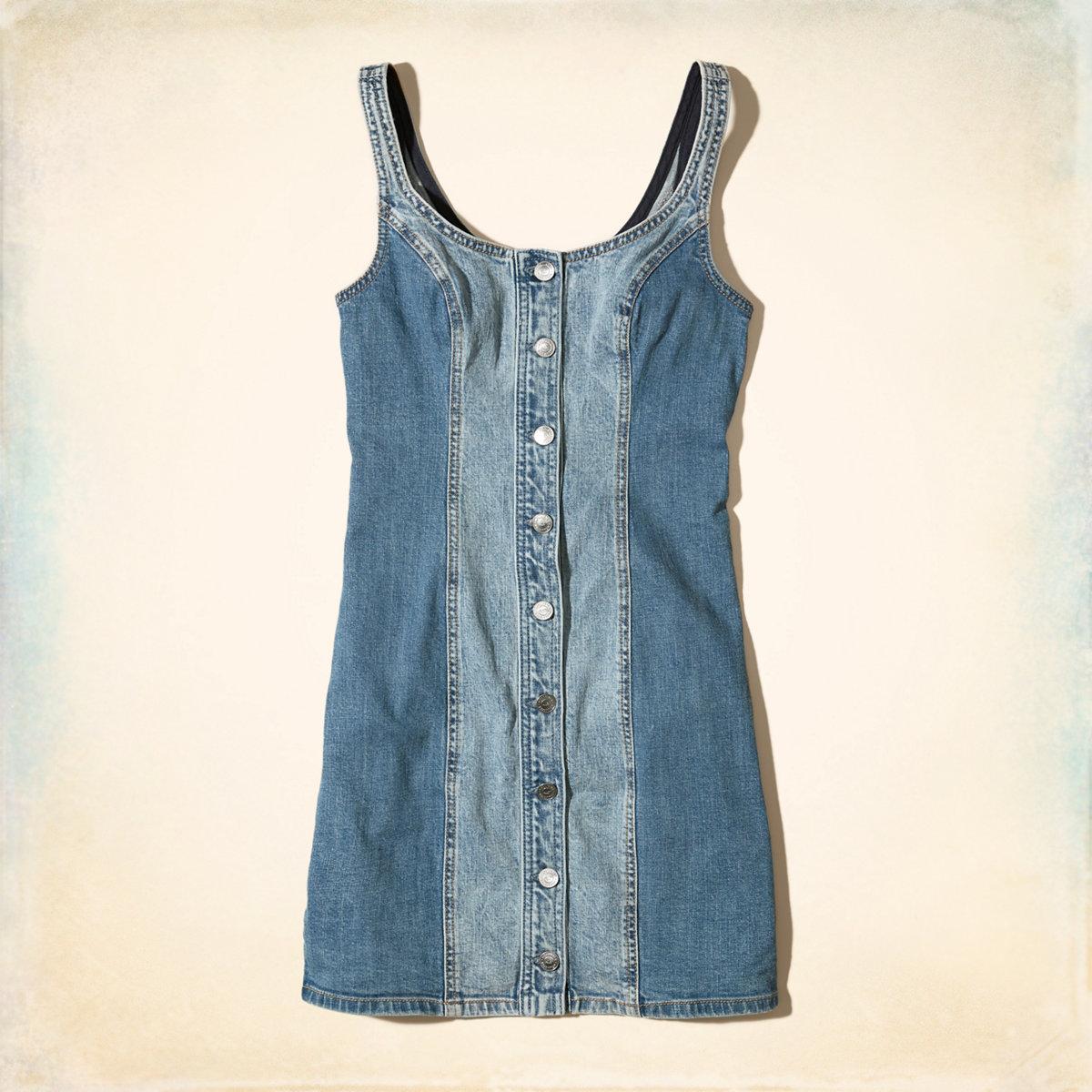 Button-Front Denim Bodycon Dress