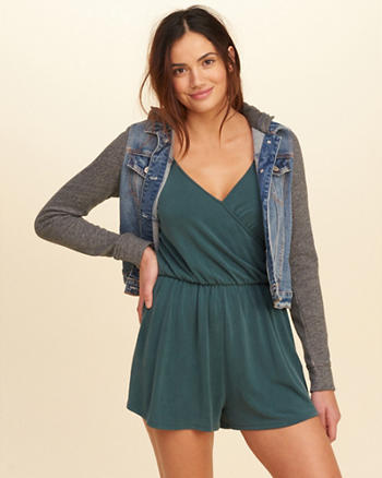 Wrap Front Sueded Knit Romper
