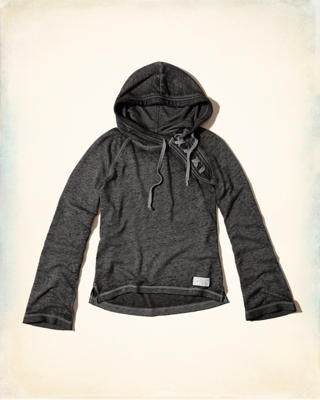 Bell-Sleeve Lace-Up Hoodie