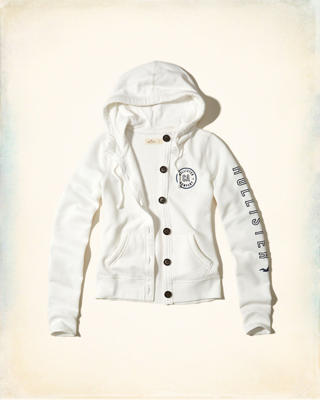 Button-Front Logo Graphic Hoodie