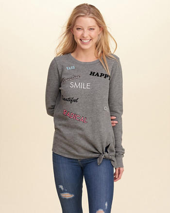 Tie-Front Graphic Crew Sweatshirt