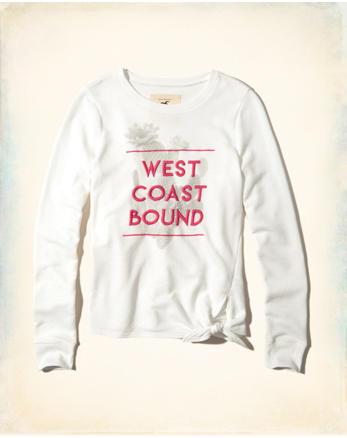 hol Tie-Front Graphic Crew Sweatshirt