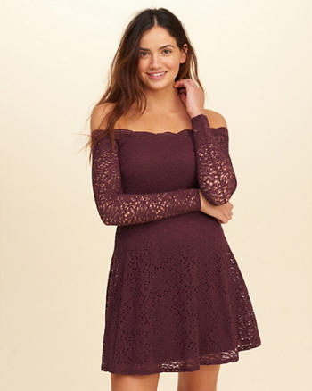 Off-The-Shoulder Lace Skater Dress