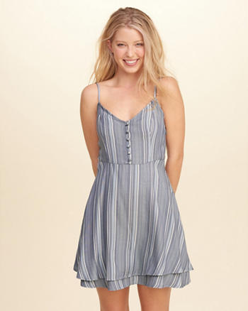 Button-Front Tiered Dress