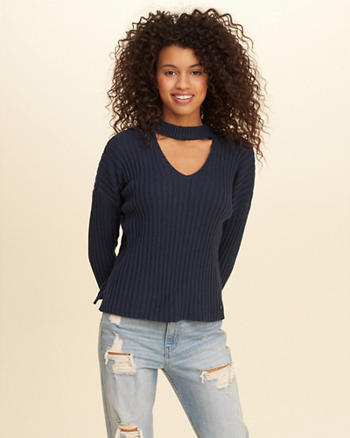 Ribbed Choker Sweater