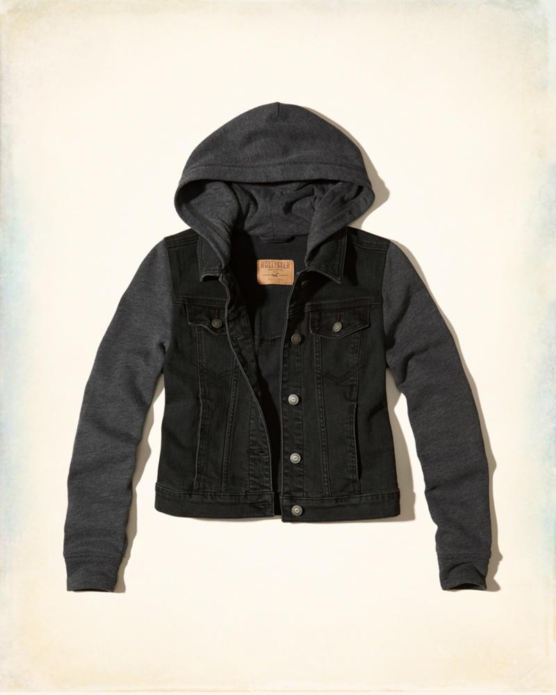 product image ... - Girls Hooded Denim Jacket Girls Jackets & Coats HollisterCo.com