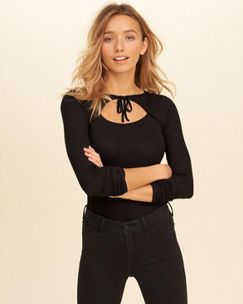 Must-Have Cutout Tie-Neck Bodysuit