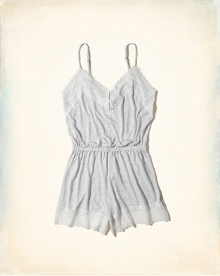 Lace-Trim Knit Sleep Romper