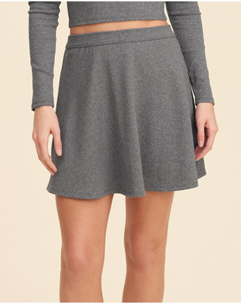 hol Ribbed Knit Skater Skirt