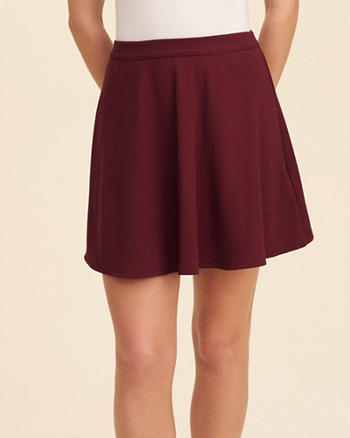 Ribbed Knit Skater Skirt