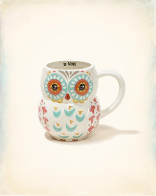 Natural Life Folk Art Ceramic Owl Mug