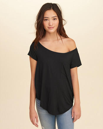 Must-Have On Or Off The Shoulder Easy Pocket T-Shirt