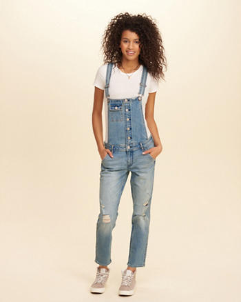 Hollister Crop Boyfriend Denim Overalls