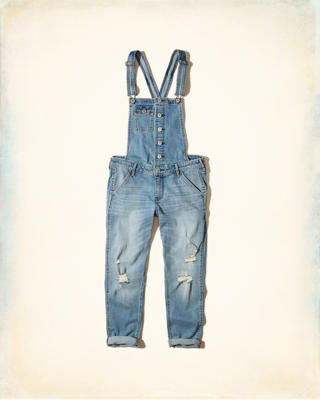 Stretch Denim Boyfriend Overalls