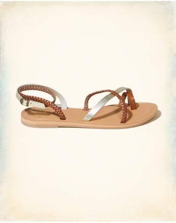 hol Vegan Leather Braided Metallic Sandal