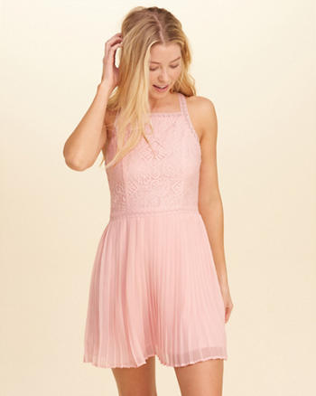 High-Neck Pleated Skater Dress
