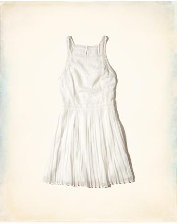 hol High-Neck Pleated Skater Dress