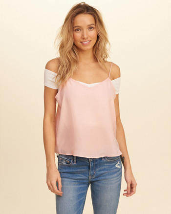 Cami Overlay Off-The-Shoulder Top