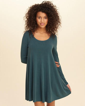 Sueded Knit Swing Dress