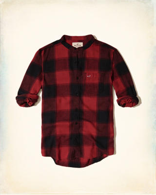 Banded Collar Patterned Flannel Shirt