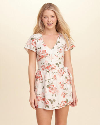 Woven Wrap-Front Romper