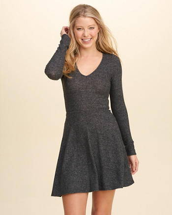 V-Neck Knit Skater Dress