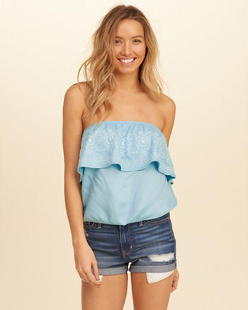 Embroidered Ruffle Tube Top
