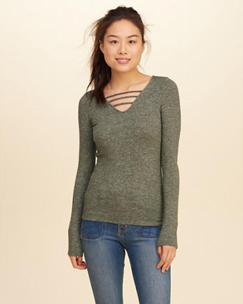 Strappy Knit T-Shirt