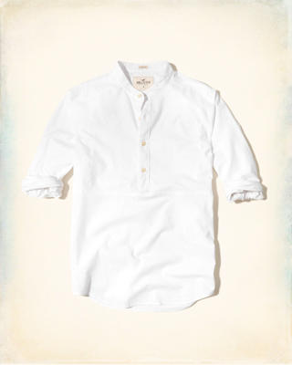Banded Collar Oxford Popover Shirt