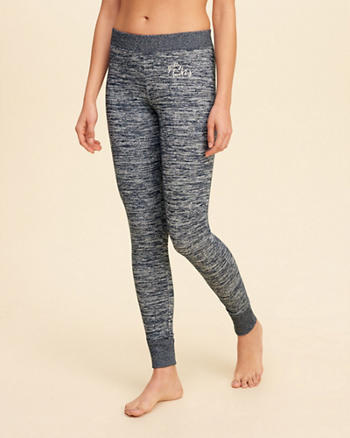 Textured Logo Graphic Fleece Leggings