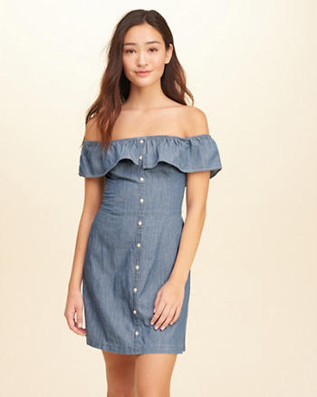 Ruffle Off-The-Shoulder Woven Dress