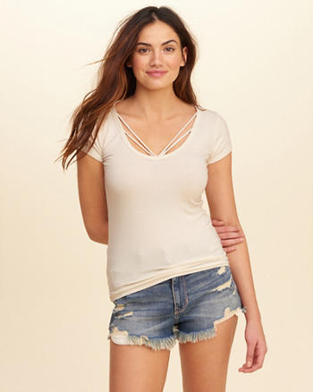 Strappy Ribbed T-Shirt