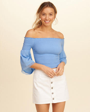 Smocked Bell-Sleeve Off-The-Shoulder Top