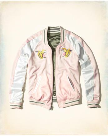 hol Reversible Satin Souvenir Bomber Jacket