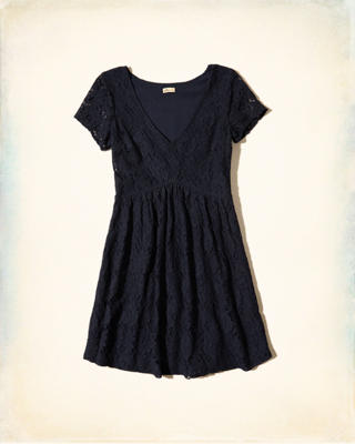 V-neck Lace Skater Dress