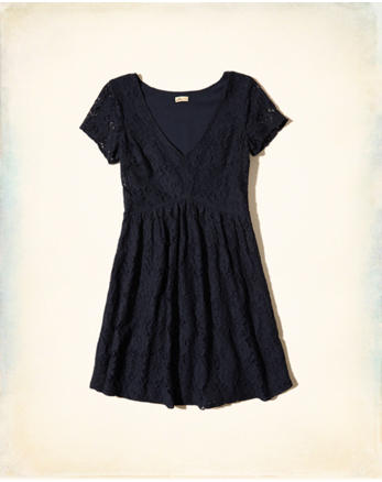 hol V-neck Lace Skater Dress